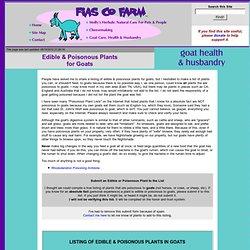 Fias Co Farm: Goats- Edible & Poisonous for Goats