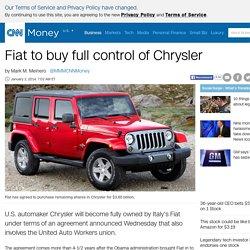 Fiat to buy full control of Chrysler - Jan. 1, 2014