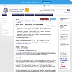 Fibrodysplasia Ossificans Progressiva: Clinical and Genetic Aspects