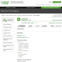 Fiche complète pour Isoprène - CNESST