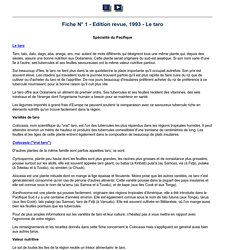 Fiche N° 1 - Edition revue, 1993 - Le taro