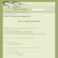 Fiche 16 : les paroles rapportées - Cours de français - Johann Trumel