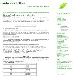 Fiche méthode pour la prise de notes « Jardin des Lettres