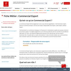 Fiche Métier : Commercial export