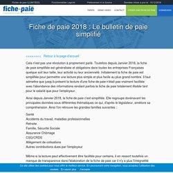 Fiche de paie 2018 : Le bulletin de paie simplifié - Fiche-paie.net