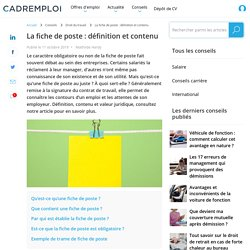 La fiche de poste : définition et contenu - Cadremploi