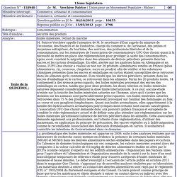 JO ASSEMBLEE NATIONALE 15/05/12 Réponse à question N°118940 Huiles minérales. retrait du marché