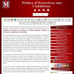 Fiches d'Exercices d'Addition