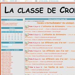 Fiches d'entraînement lexique CM2 - La classe de Crol