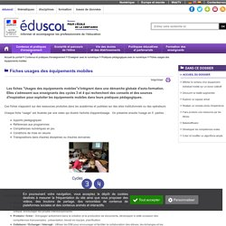 Equipements mobiles usages en classes _Fiches autoformation_Eduscol