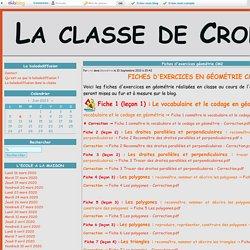 Fiches d'exercices géométrie CM2 - La classe de Crol