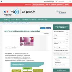 """""""Parcours Avenir"""", des fiches pédagogiques pour le collège"""