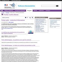 Fiches outils : recherche d'informations
