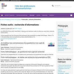 Fiches outils : recherche d'informations +++++