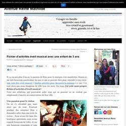 Fichier d'activités éveil musical avec une enfant de 3 ans -Avenue Reine Mathilde