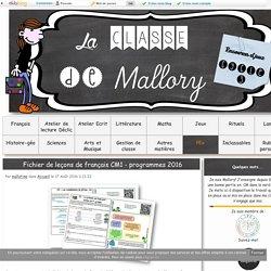 Fichier de leçons de français CM1 - programmes 2016