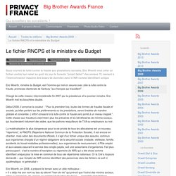 Le fichier RNCPS et le ministère du Budget - Big Brother Awards