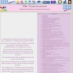 VBA : Gestion des fichiers, dossiers et lecteurs