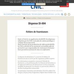 Fichiers de Fournisseurs Dispense DI-004