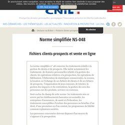 Fichiers clients-prospects et vente en ligne Norme simplifiée NS-048