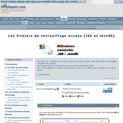 Les fichiers de verrouillage Access (ldb et laccdb)