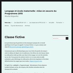 Classe fictive – Langage et école maternelle : mise en oeuvre du Programme 2015