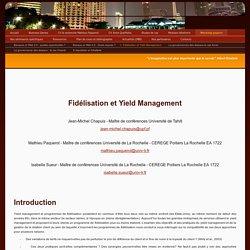 Fidélisation et Yield Management - simulation de gestion jeu d'entreprise business game