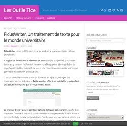 FidusWriter. Un traitement de texte pour le monde universitaire