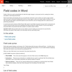 Field codes in Word