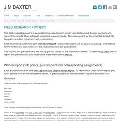 Field Research Project - Jim Baxter
