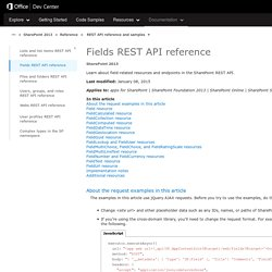 Fields REST API reference