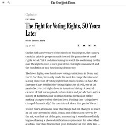 The Fight for Voting Rights, 50 Years Later