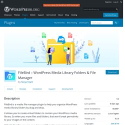 FileBird – WordPress Media Library Folders & File Manager – WordPress plugin