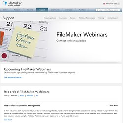 Web Seminars, FileMaker Webinars