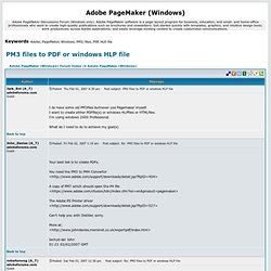 PM3 files to PDF or windows HLP file - Adobe PageMaker (Windows)