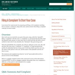 Filing A Complaint To Start Your Case - Civil Law Self-Help Center