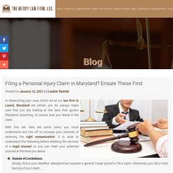 Filing a Personal Injury Claim in Maryland? Ensure These First