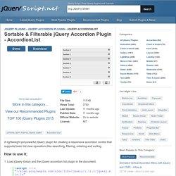Sortable & Filterable jQuery Accordion Plugin - AccordionList