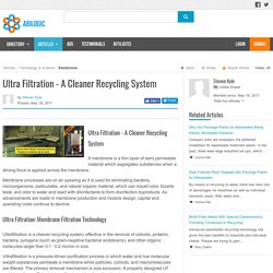 Ultra Filtration - A Cleaner Recycling System