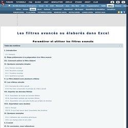 Les filtres avancés ou élaborés dans Excel
