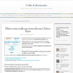 Filtrer votre veille par mots clés avec Yahoo Pipes