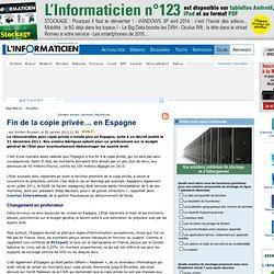 Fin de la copie privée… en Espagne