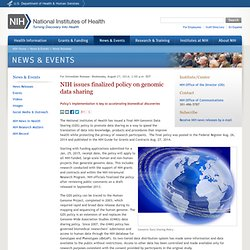 issues finalized policy on genomic data sharing