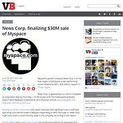 News Corp. finalizing $30M sale of Myspace