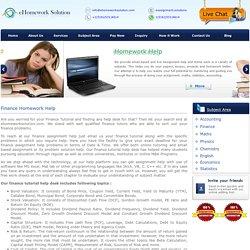 Online finance class help
