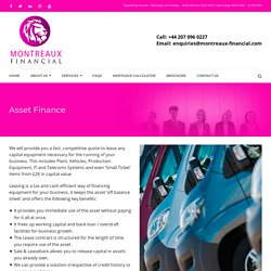 Asset Finance Companies In The UK, Equipment Finance UK