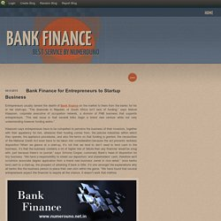 Bank Finance for Entrepreneurs to Startup Business