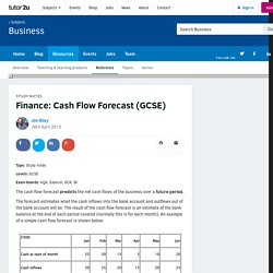 3.1.1 Cash Flow Forecast - Business study notes
