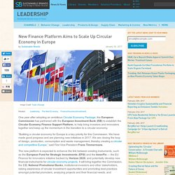 New Finance Platform Aims to Scale Up Circular Economy in Europe