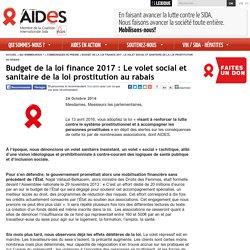 Budget de la loi finance 2017 : Le volet social et sanitaire de la loi prostitution au rabais